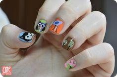 Siberian Husky, Owl, Bird, Tree and Elefant. Animal Nail Art #nail #nails #nailart