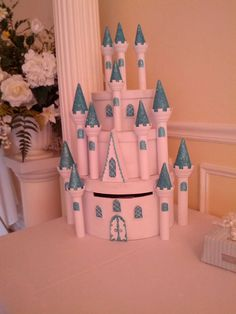 Cinderella's Castle inspired card box made by my sister for my wedding