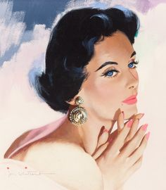 Jon Whitcomb (American, Blue Eyes and Big Earrings Gouache on board x in. (sight) - Available at 2016 April 26 Illustration Art. Pin Up Vintage, Art Vintage, Vintage Drawing, Retro Art, Pinup Art, Art And Illustration, Vintage Pictures, Vintage Images, Retro Kunst