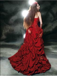 Trending red fair tale gothic wedding dress