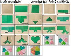 Atelier Origami KitoKito Diagramme Le tr�fle � quatre feuilles