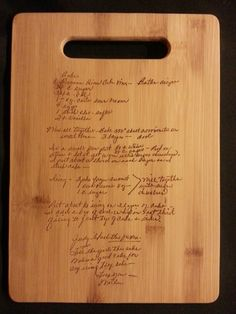 Custom engraved cutting board for Brooke from 3dcarving on Etsy