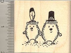 Thanksgiving Hedgehogs Rubber Stamp ** Details can be found by clicking on the image.
