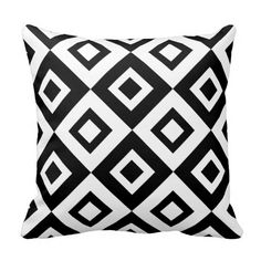 Black and White Diamond Patterned Throw Pillow