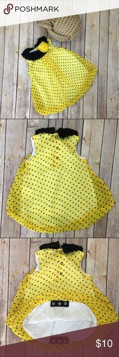 Yellow Bubble Polka Dot Romper Yellow and Black Bubble Polka Dot Romper by Baby Essential. Baby Essentials One Pieces