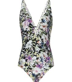 Holiday Wardrobe: Reiss Harlot Print Women's Black Plunge-front Swimsuit