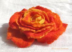 Gefilzte Rose, orange