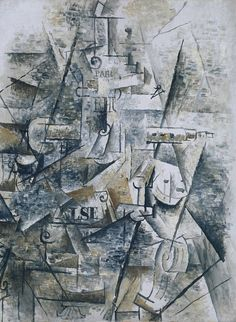 Clarinet and Bottle of Rum on a Mantelpiece, 1911 - Georges Braque Analytical Cubism Georges Braque, Pablo Picasso, Cubist Paintings, Infinite Art, European Paintings, Art Uk, Kandinsky, Art Reproductions, Oeuvre D'art