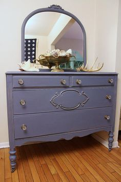 Sold   Vintage Dresser with mirror  in Old Violet Chalk Paint