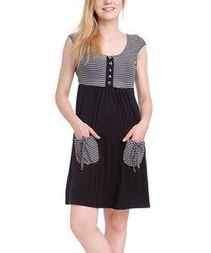 Look at this #zulilyfind! Black & White Stripe Pocket Cap-Sleeve Dress #zulilyfinds