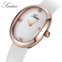 106.20$  Know more - http://aizts.worlditems.win/all/product.php?id=32800215770 - SNIICA Watches Women 30M Waterproof Oval Rose Gold Watch Leather Watchband Diamond Luxury Quartz Watch relogio feminino SN3206