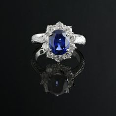 4.13ct Blue Sapphire & Diamond 18k WG Ring GIA (4ct) No Heat #Handmade #SolitairewithAccents