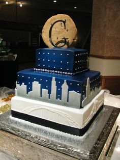 city skyline cake - blue with cookie top
