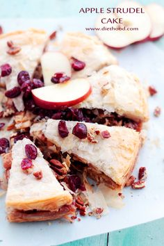 Apple Strudel Cake! A fun take on the classic Apple Strudel dessert, filled with a deliciously spiced apple cranberry filling.