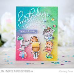 Stamps: Spectacular Birthday Die-namics: Spectacular Birthday, Birthday Wishes Keeway Tsao Minecraft Birthday Party, Cat Birthday, Birthday Wishes, Birthday Cards, Rainbow Card, Love Rainbow, Rainbow Theme, Scrapbooking, Mft Stamps