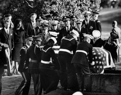 ❖ November 25, 1963 ❖  Three days after his assassination in Dallas, Texas, John F. Kennedy is laid to rest at Arlington National Cemetery in Virginia. Leaders of 99 nations gathered for the state funeral. Kennedy was buried with full military honors on a slope below Arlington House, where an eternal flame was lit by his widow to forever mark the grave.