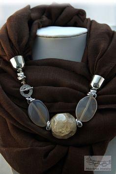 Scarf Necklace, Scarf Jewelry, Fabric Jewelry, Pendant Jewelry, Beaded Jewelry, Handmade Jewelry, Beaded Necklace, Colar Fashion, Fashion Jewelry