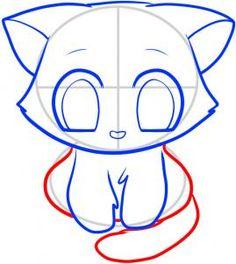 Dit is nog een variant om een kat te tekenen, deze past beter bij het meisje omdat de kat een beetje chibi-achtig is en het meisje manga. Deze stijlen lijken best op elkaar dus gaan ze goed samen. Dit is de afbeelding met de basis vormen en de uitlijning van de uiteindelijke kat.