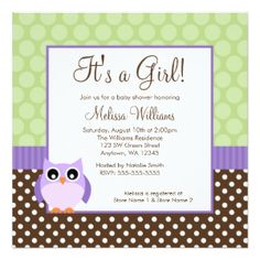 "Purple Brown Green Owl Polka Dot Girl Baby Shower 5.25x5.25 Square Paper Invitation Card (<em data-recalc-dims=""1"">$2.31</em>)"
