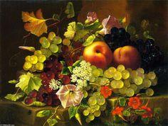'naturaleza muerta de fruta y flores', óleo sobre lienzo de Adelheid Dietrich (1803-1877, Germany)