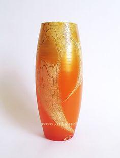 Hand Painted Glass Orange Vase Wedding Vase by ArtSGlassStudio