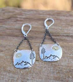 Silver Mountain Earrings, Silver Nature Earrings, Artisan Earrings,  Gold Sun Earrings, Silver Tree Earrings, Charm Earrings by woodsandwillow on Etsy Leaf Jewelry, Jewelry Crafts, Silver Earrings, Drop Earrings, Earring Tree, Tree Of Life Necklace, Artisan, Handmade Items, Gold