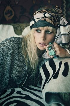 Gypsy Style ~ Loving all those gorgeous rings & her head scarf