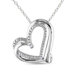 Miadora Sterling Silver Diamond Heart Necklace | Overstock.com Shopping - Top Rated Miadora Diamond Necklaces