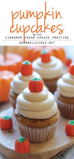 Looks like a perfect fall recipe!--Recipe For Pumpkin Cupcakes With Cinnamon Cream Cheese Frosting. These Pumpkin Cupcakes Are Super Light And Moist, Topped With A Fluffy Cinnamon Cream Cheese Frosting, Leaving These To Be The Best Pumpkin Cupcakes Ever! Cupcakes With Cream Cheese Frosting, Cinnamon Cream Cheese Frosting, Cream Frosting, Fluffy Frosting, Cupcake Recipes, Cupcake Cakes, Dessert Recipes, Tea Cupcakes, Cup Cakes