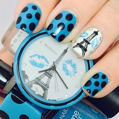 This mani inspired by my Gorgeous Funky Paris watch from @lightinthebox 😘😘. Please excuse my wonky Freehand painted #EiffelTower I think it's kind of trying to be a little like the #LeaningTowerofPisa 😜. Oh well.  Anywho polishes are @inmnails 😘😘 White Porcelain, Black Hole Matte Top coat and @sallyhansenau Blue Me Away! (Fingers crossed it won't go the way of Pacific Blue😰).