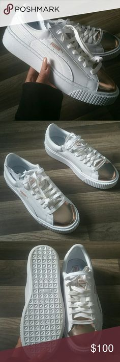 6667fdc45 White leather rose gold puma creeper Brand new never worn without box.  Extra laces included