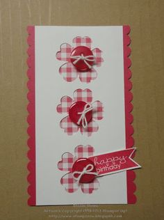 SU Banner Greetings, Gingham Garden DSP, Pansy Punch, Scallop Border Punch