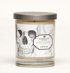 "Opium soy candle by Witch City Wicks: Fine mellow tobacco with a hint of cherrywood infused with an exotic blend of earthy resins found in Dragon's Blood. The ""Curiosities"" collection label art work is inspired by modern curiosities and nature. 10% off with promo code PIN10"