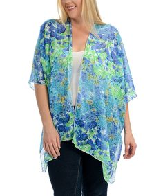 This Blue & Green Floral Open Cardigan by Magic Fit is perfect! #zulilyfinds