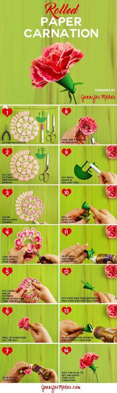 Rolled Paper Carnation Tutorial