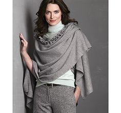 RUFFLE-FRONT RUANA - Gray from Johnston & Murphy  #johnstonmurphy #fallstyle   This with my matching boots, AMAZING!