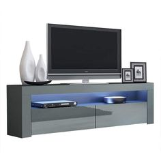 Milano Classic Modern 16 color 63-inch TV Stand | Overstock.com Shopping - The Best Deals on Entertainment Centers - Gray/Wavy Black Coastal Furniture, Living Room Furniture, Modern Furniture, Living Room Storage, Storage Spaces, 70 Inch Tvs, Black Tv Stand, Modern Tv, Entertainment Room