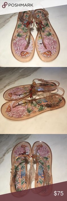 Salvatore Ferragamo pink tropical jelly sandals Never before worn Salvatore Ferragamo sandals size 9. Pink jellies perfect for summer with a cute tropical fish pattern on the footbed! Salvatore Ferragamo Shoes Sandals