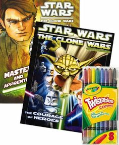 Star Wars Clone Wars Coloring Book Set with Twist-up Crayons by Star Wars. $18.99. Includes a package of full sized Seargent Art Twist-up crayons.. Games, puzzles, mazes and coloring fun with Star Wars Clone Wars.. Great gift for your favorite Star Wars enthusiast! This coloring and activity set will provide many hours of Star Wars Clone Wars fun!. Delight your Star Wars fan with these Star Wars Jumbo Coloring and Activity books with Twist-up Crayons.. Books measures a...