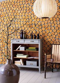 Great feature wall, especially if the wall behind it is a bright pop of color