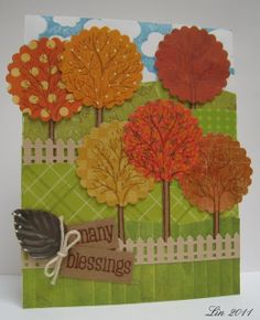 Hero Arts stamp called Three Winter Trees, and by stamping it on autumnal papers, I made them into autumn trees.  I also used a variey of patterned green papers for the rolling hills. ...