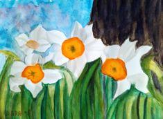 Narcisy pod starým stromom akvarel