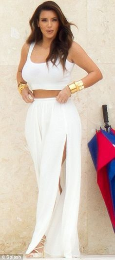 Get Kim Kardashian's summer look with our 'Kaiyo' crop top in white: http://www.boomboomboutique.com/products/kaiyo-crop-top #kimkardashian #kardashian #style