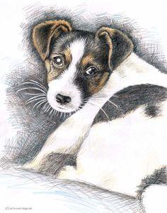 Jack Russell Welpe von Arts & Dogs by Nicole Zeug auf DaWanda.com