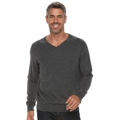 Men's Croft & Barrow® True Comfort Classic-Fit V-Neck Sweater, Size: Medium, Dark Grey