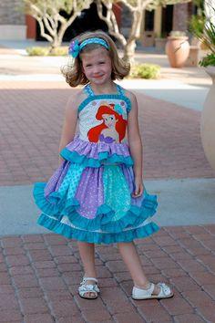 Custom Boutique Disney Princess Ariel Little Mermaid Skirt Top. $135.00, via Etsy.