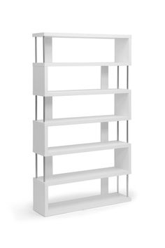 smaller and in black for store - Barnes White 6 Shelf Modern Bookcase by Wholesale Interiors on @HauteLook  smaller and in black for store