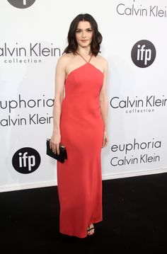 The actress was a standout in this salmon-hued halter number by Calvin Klein.   - MarieClaire.com