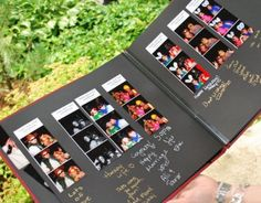 Book a photobooth and place one copy of each picture in a scrapbook. Write with metallic pens on a black background for a nice pop.  Such a fun way to capture the emotion and people on the wedding day!