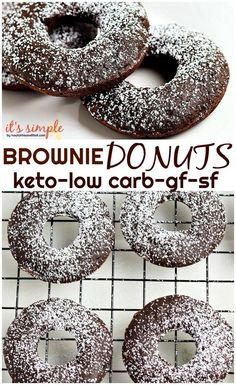 Keto Chocolate Donuts Keto chocolate brownie donuts are amazing The rich fudgy chocolate makes them a decadent low carb treat that you wont want to turn down You can eith. Low Carb Donut, Keto Donuts, Baked Donuts, Doughnuts, Chocolate Donuts, Chocolate Brownies, Keto Brownies, Donut Recipes, Meat Recipes